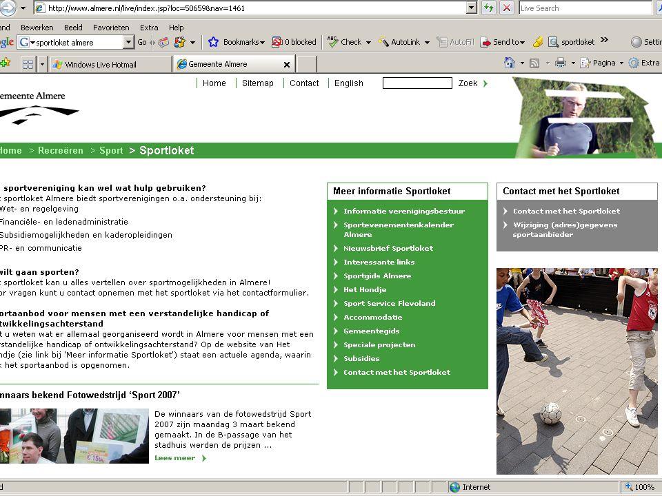 Best practice Sportloket Almere Digitaal loket (web./tel./mail) Eén fulltime functie (sportafdeling gem. Almere) Verenigingsondersteuning i.s.m. Sport