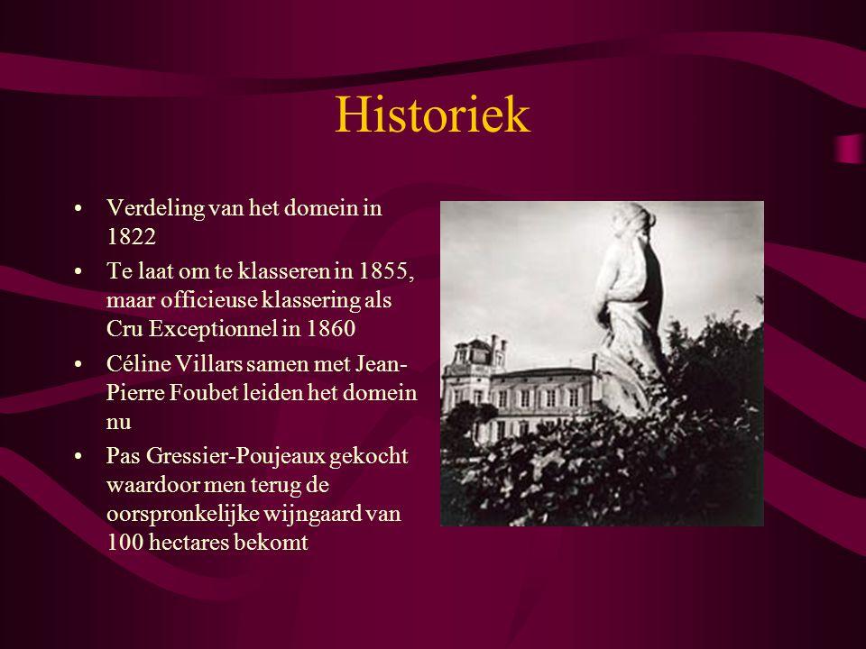 Historiek Verdeling van het domein in 1822 Te laat om te klasseren in 1855, maar officieuse klassering als Cru Exceptionnel in 1860 Céline Villars sam