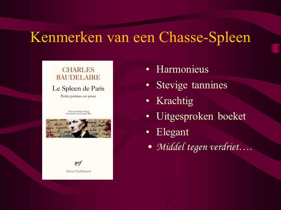 Kenmerken van een Chasse-Spleen Harmonieus Stevige tannines Krachtig Uitgesproken boeket Elegant Middel tegen verdriet….