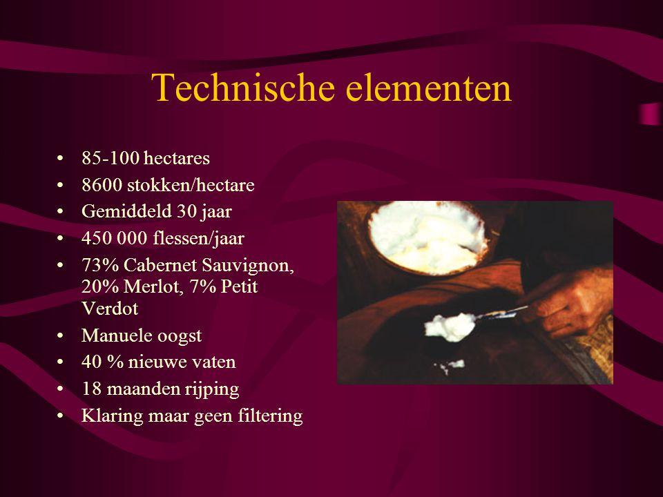 Technische elementen 85-100 hectares 8600 stokken/hectare Gemiddeld 30 jaar 450 000 flessen/jaar 73% Cabernet Sauvignon, 20% Merlot, 7% Petit Verdot M