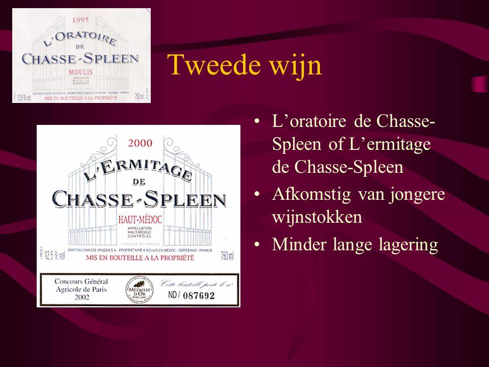 Tweede wijn L'oratoire de Chasse- Spleen of L'ermitage de Chasse-Spleen Afkomstig van jongere wijnstokken Minder lange lagering