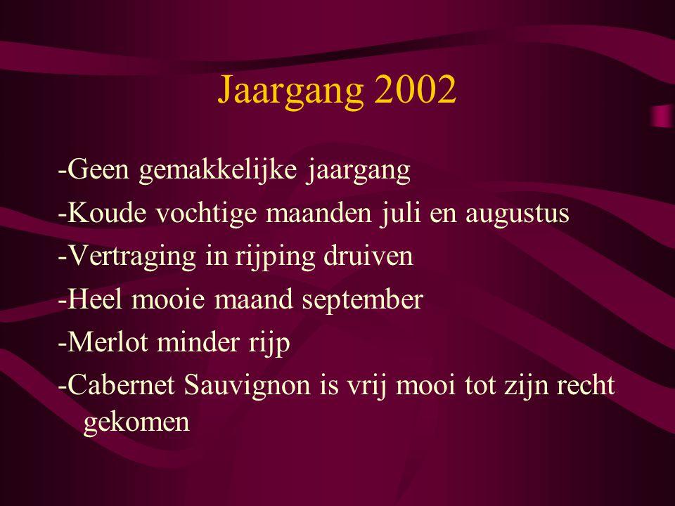 Jaargang 2002 -Geen gemakkelijke jaargang -Koude vochtige maanden juli en augustus -Vertraging in rijping druiven -Heel mooie maand september -Merlot