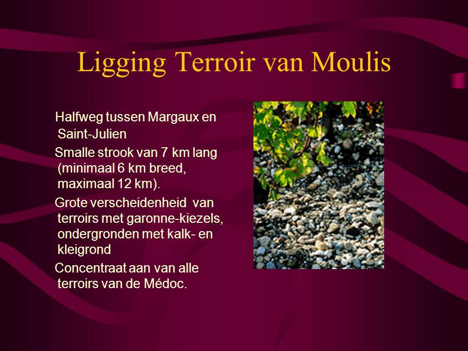 Ligging Terroir van Moulis Halfweg tussen Margaux en Saint-Julien Smalle strook van 7 km lang (minimaal 6 km breed, maximaal 12 km). Grote verscheiden