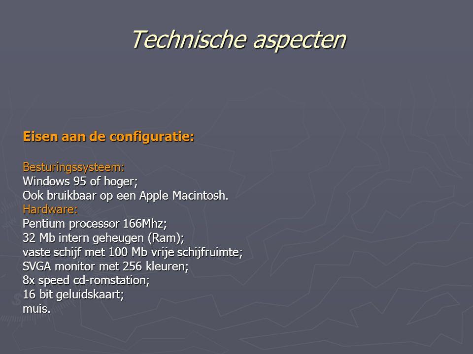 Technische aspecten Eisen aan de configuratie: Besturingssysteem: Windows 95 of hoger; Ook bruikbaar op een Apple Macintosh.