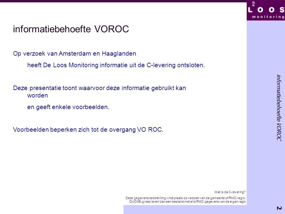 2 informatiebehoefte VOROC Op verzoek van Amsterdam en Haaglanden heeft De Loos Monitoring informatie uit de C-levering ontsloten. Deze presentatie to