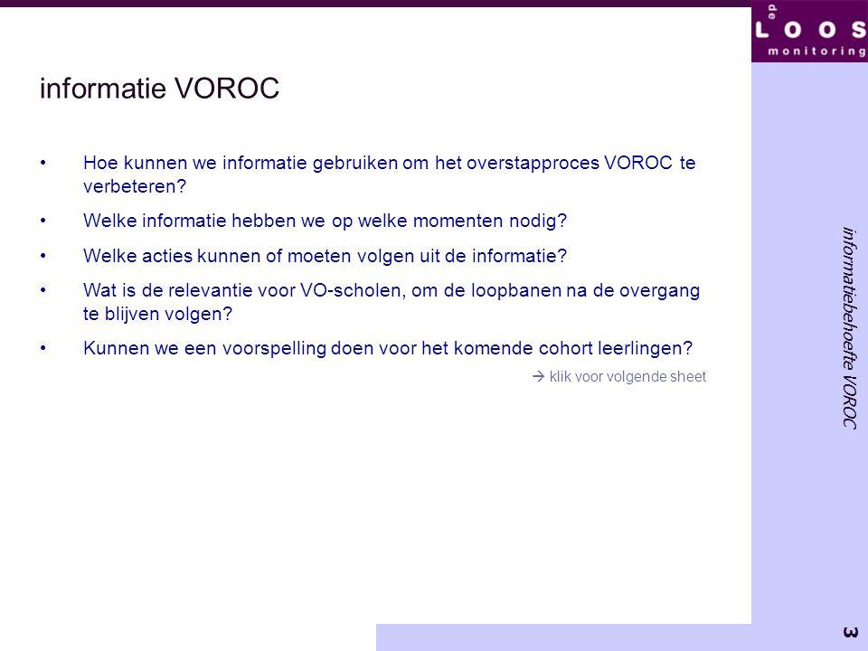 3 informatiebehoefte VOROC informatie VOROC Hoe kunnen we informatie gebruiken om het overstapproces VOROC te verbeteren? Welke informatie hebben we o