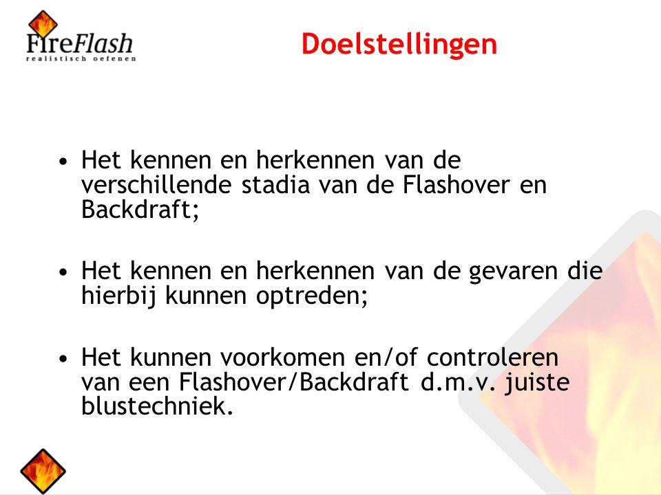 Doelstellingen Het kennen en herkennen van de verschillende stadia van de Flashover en Backdraft; Het kennen en herkennen van de gevaren die hierbij kunnen optreden; Het kunnen voorkomen en/of controleren van een Flashover/Backdraft d.m.v.
