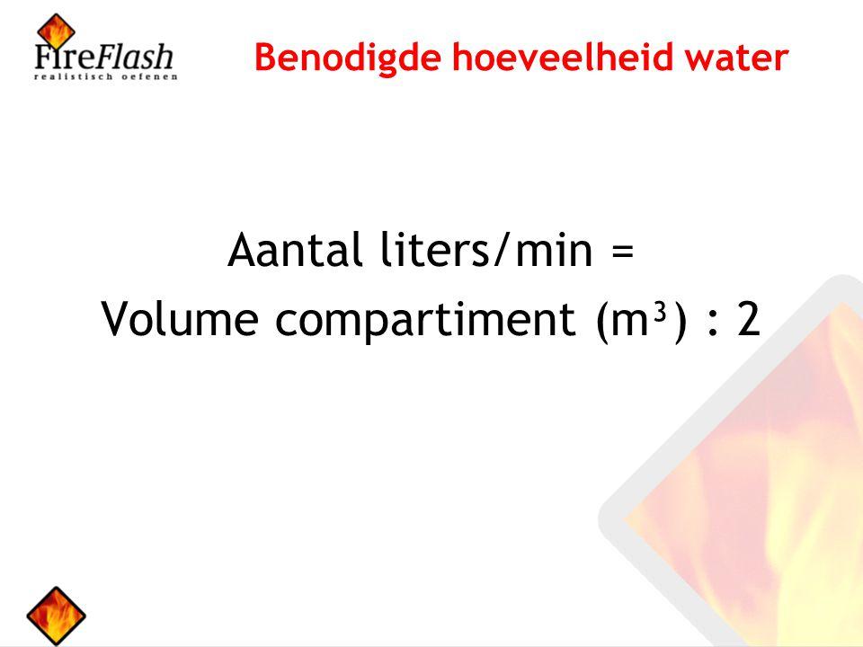 Aantal liters/min = Volume compartiment (m³) : 2 Benodigde hoeveelheid water