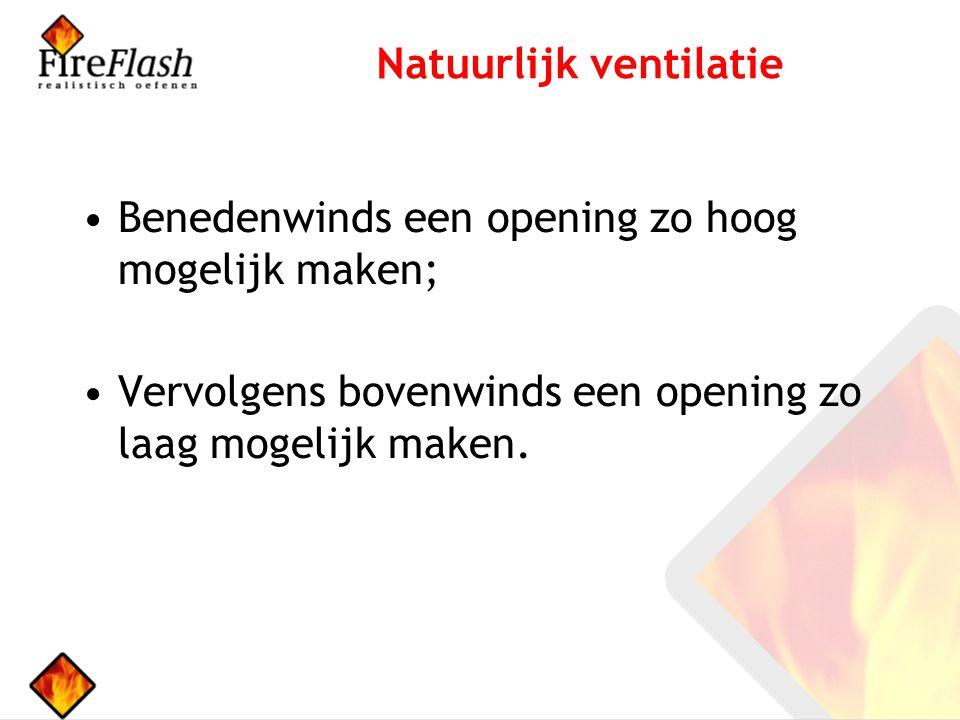 Benedenwinds een opening zo hoog mogelijk maken; Vervolgens bovenwinds een opening zo laag mogelijk maken.