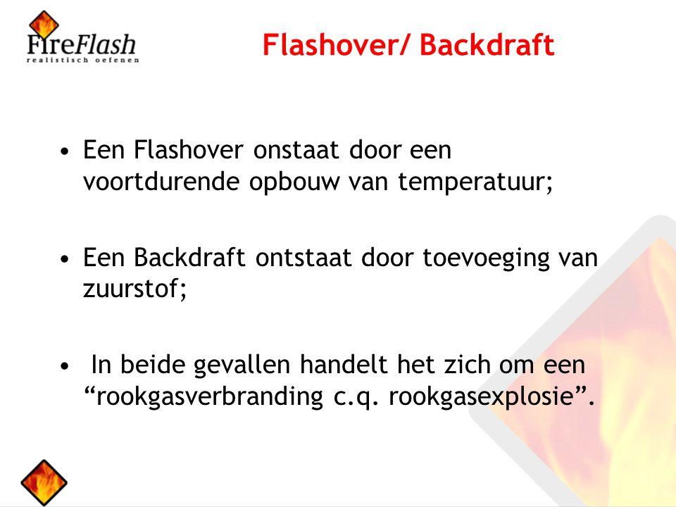 Een Flashover onstaat door een voortdurende opbouw van temperatuur; Een Backdraft ontstaat door toevoeging van zuurstof; In beide gevallen handelt het zich om een rookgasverbranding c.q.