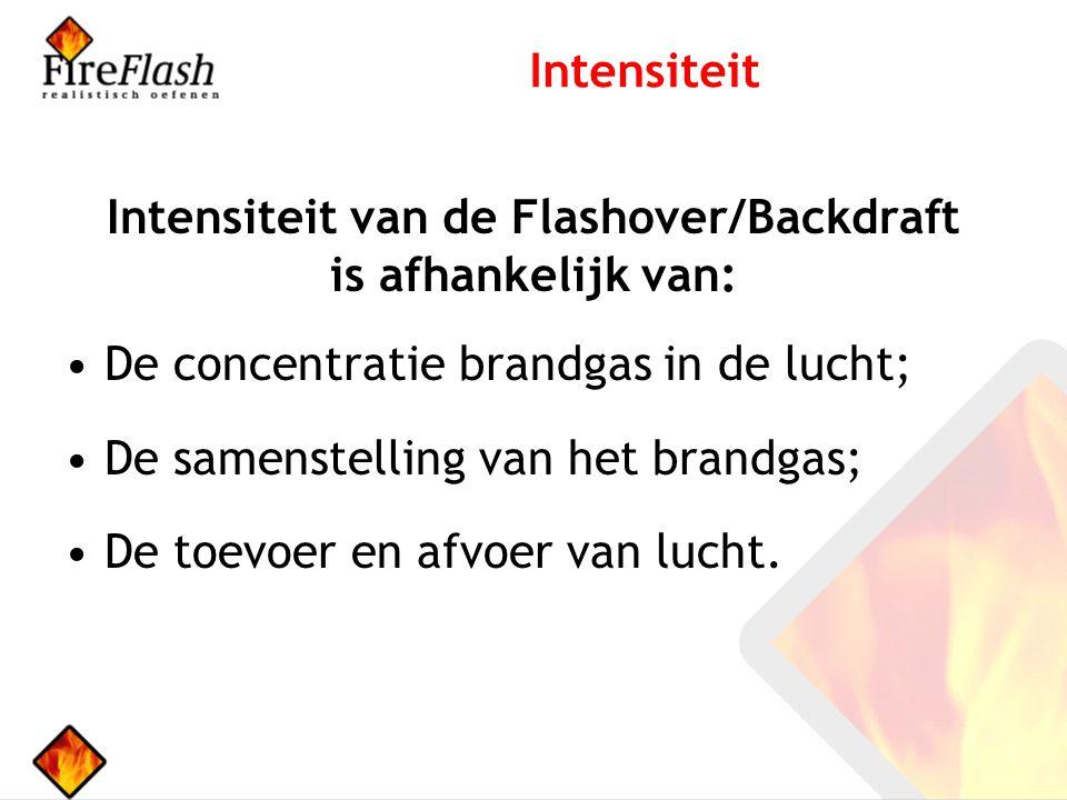 Intensiteit van de Flashover/Backdraft is afhankelijk van: De concentratie brandgas in de lucht; De samenstelling van het brandgas; De toevoer en afvoer van lucht.