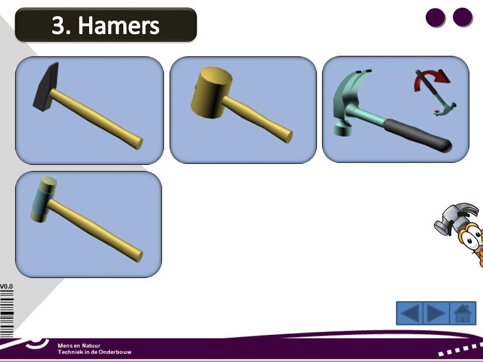 Met een kunststof hamer bewerk je metaalplaat. Door de zachte kop beschadig je het materiaal niet. Houd bij het timmeren de steel aan het eind vast. Z