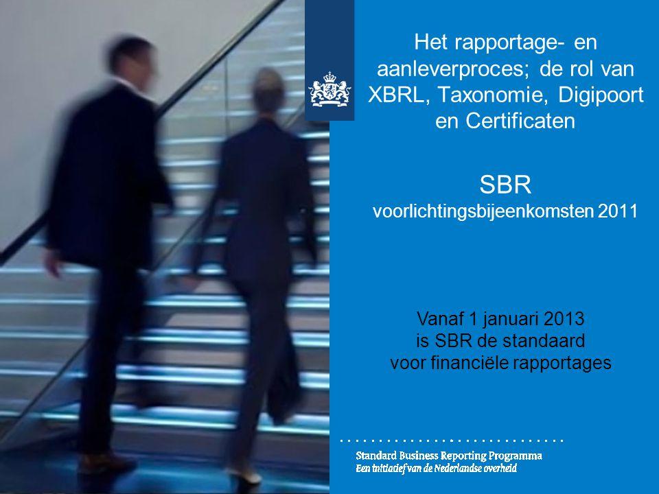 Het rapportage- en aanleverproces; de rol van XBRL, Taxonomie, Digipoort en Certificaten SBR voorlichtingsbijeenkomsten 2011 Vanaf 1 januari 2013 is S