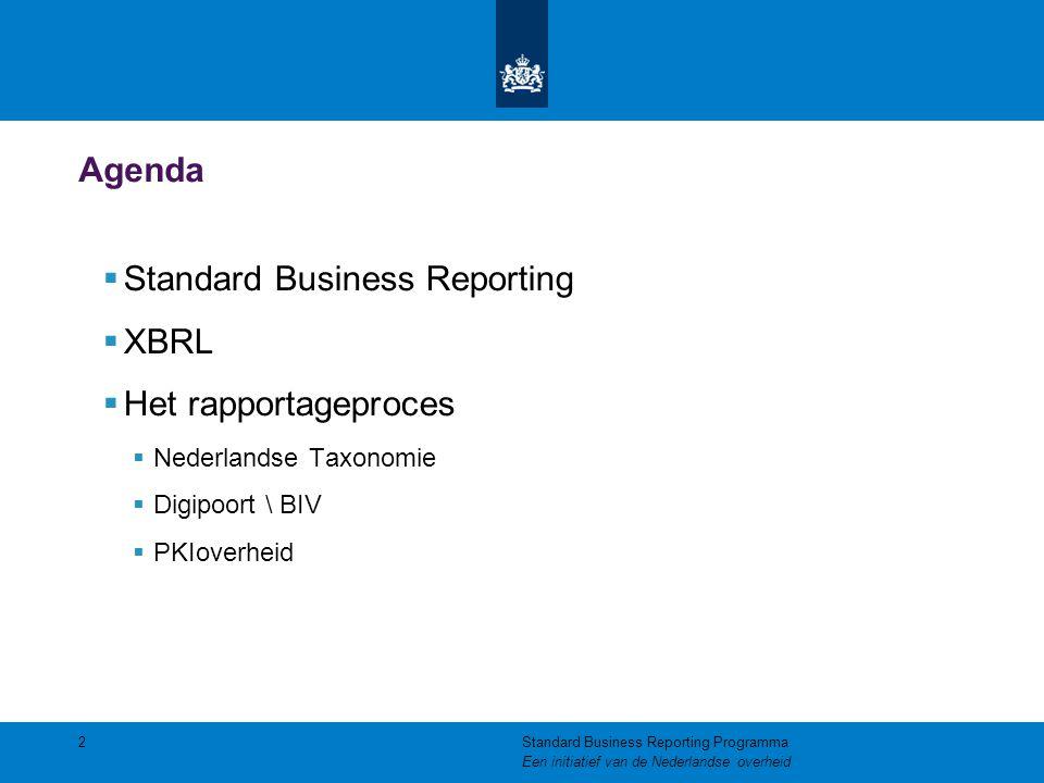 De elementen van SBR De SBR-aanpak bestaat uit drie elementen: Standaardisatie op het gebied van  Gegevens: De Nederlandse Taxonomie  Processen: Digipoort / BIV  Techniek: Gebruik van 'Open Standaarden', waaronder XBRL 3