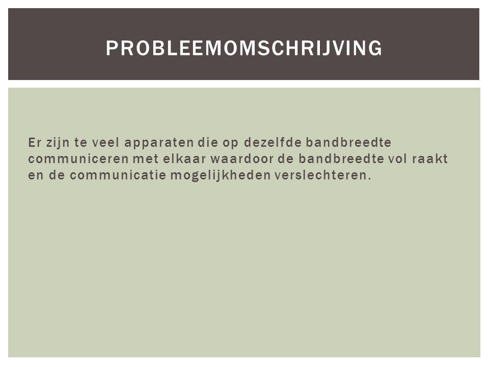 Er zijn te veel apparaten die op dezelfde bandbreedte communiceren met elkaar waardoor de bandbreedte vol raakt en de communicatie mogelijkheden verslechteren.