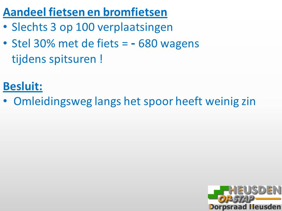 Besluit: Omleidingsweg langs het spoor heeft weinig zin Aandeel fietsen en bromfietsen Slechts 3 op 100 verplaatsingen Stel 30% met de fiets = - 680 wagens tijdens spitsuren !