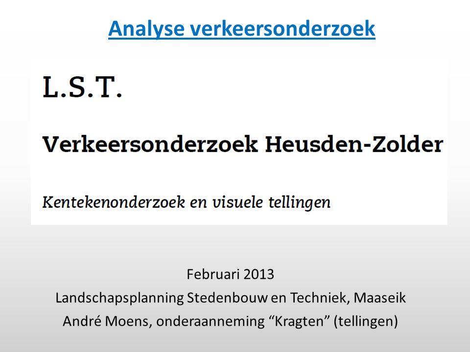 """Februari 2013 Landschapsplanning Stedenbouw en Techniek, Maaseik André Moens, onderaanneming """"Kragten"""" (tellingen) Analyse verkeersonderzoek"""