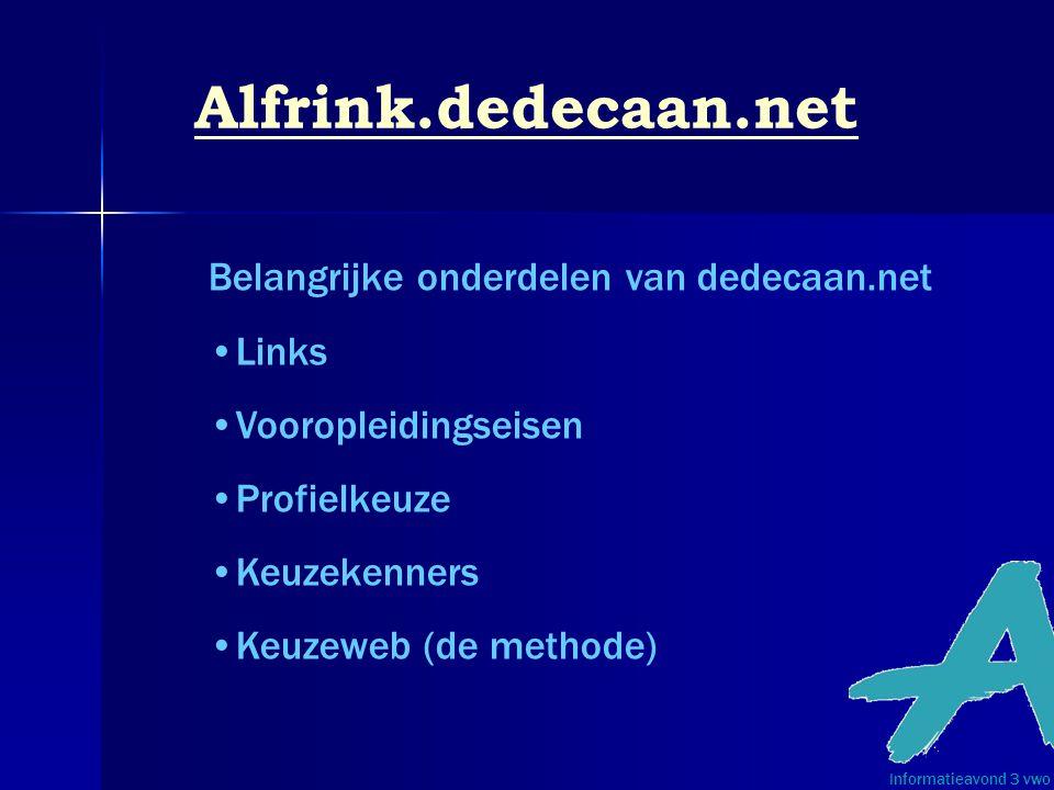 Alfrink.dedecaan.net Belangrijke onderdelen van dedecaan.net Links Vooropleidingseisen Profielkeuze Keuzekenners Keuzeweb (de methode) Informatieavond