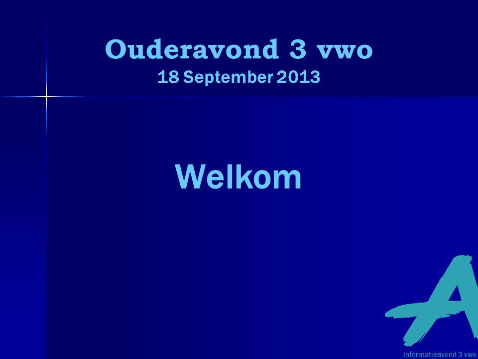 Programma 3 vwo: Yvonne van Schooneveld, afdelingsleider Kiezen in 3 vwo: Wouter Keizer, decaan Kennismaken met de mentor Informatieavond 3 vwo