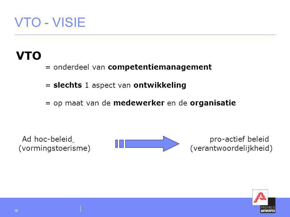 10 VTO - VISIE VTO = onderdeel van competentiemanagement = slechts 1 aspect van ontwikkeling = op maat van de medewerker en de organisatie Ad hoc-bele