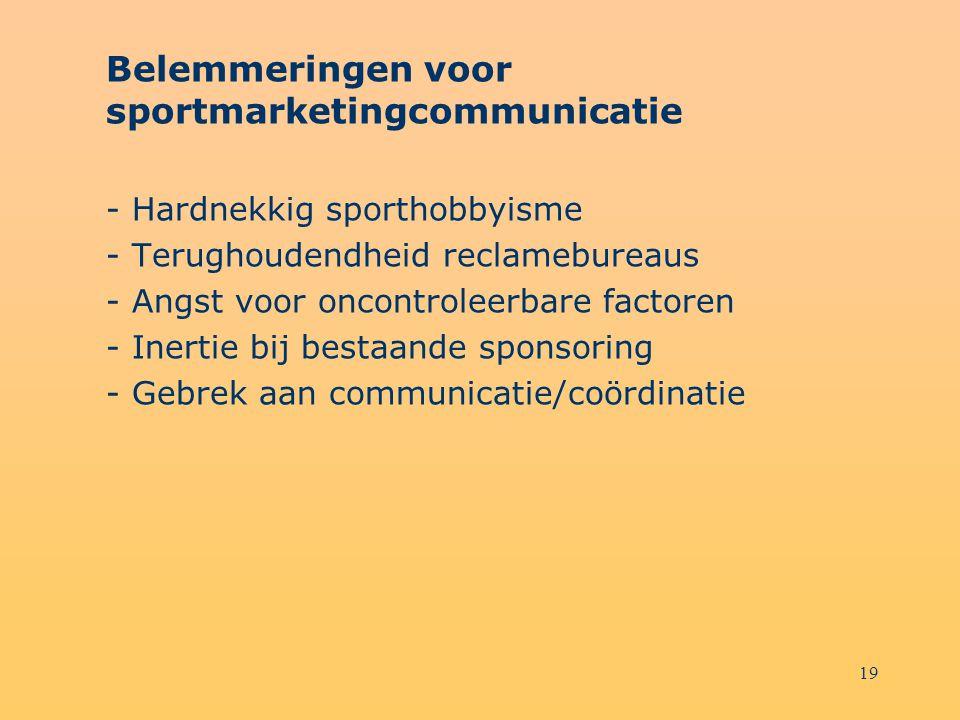 19 Belemmeringen voor sportmarketingcommunicatie - Hardnekkig sporthobbyisme - Terughoudendheid reclamebureaus - Angst voor oncontroleerbare factoren
