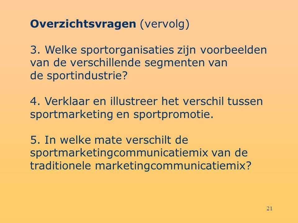 21 Overzichtsvragen (vervolg) 3. Welke sportorganisaties zijn voorbeelden van de verschillende segmenten van de sportindustrie? 4. Verklaar en illustr