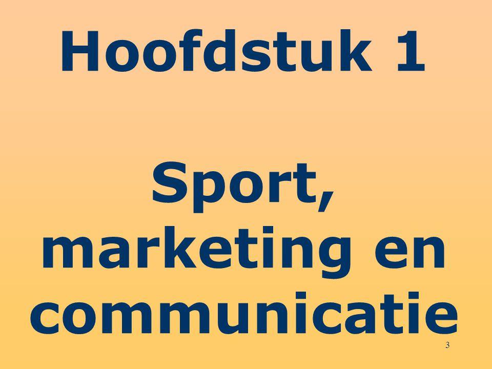 14 Sportmarketing = Marketing van en door sport = Sportmarketingmix – Prijszetting in sport – Distributiekanalen in sport – Productkwaliteit in sport – Proces van dienstverlening – Sportpromotie = sportmarketingcommunicatie