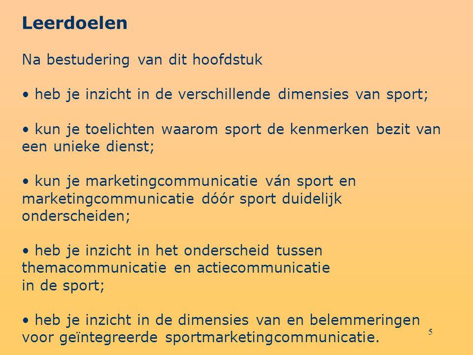 5 Leerdoelen Na bestudering van dit hoofdstuk heb je inzicht in de verschillende dimensies van sport; kun je toelichten waarom sport de kenmerken bezi