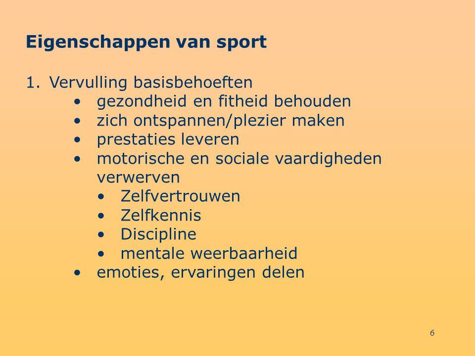6 Eigenschappen van sport 1.Vervulling basisbehoeften gezondheid en fitheid behouden zich ontspannen/plezier maken prestaties leveren motorische en so