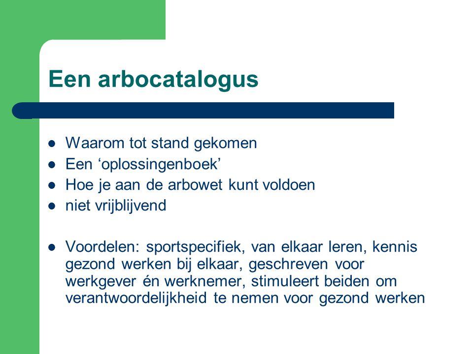 De werkingssfeer van de catalogus Arbocatalogus sportorganisaties bondenwerkgevers Arbeids- inspectie richtsnoer bij inspectie of ongevallen Stellen vast branche standaard
