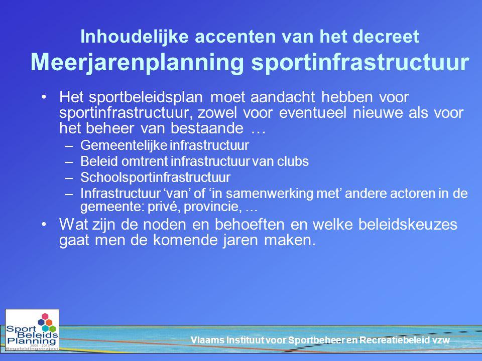 Vlaams Instituut voor Sportbeheer en Recreatiebeleid vzw Inhoudelijke accenten van het decreet Meerjarenplanning sportinfrastructuur Het sportbeleidsp