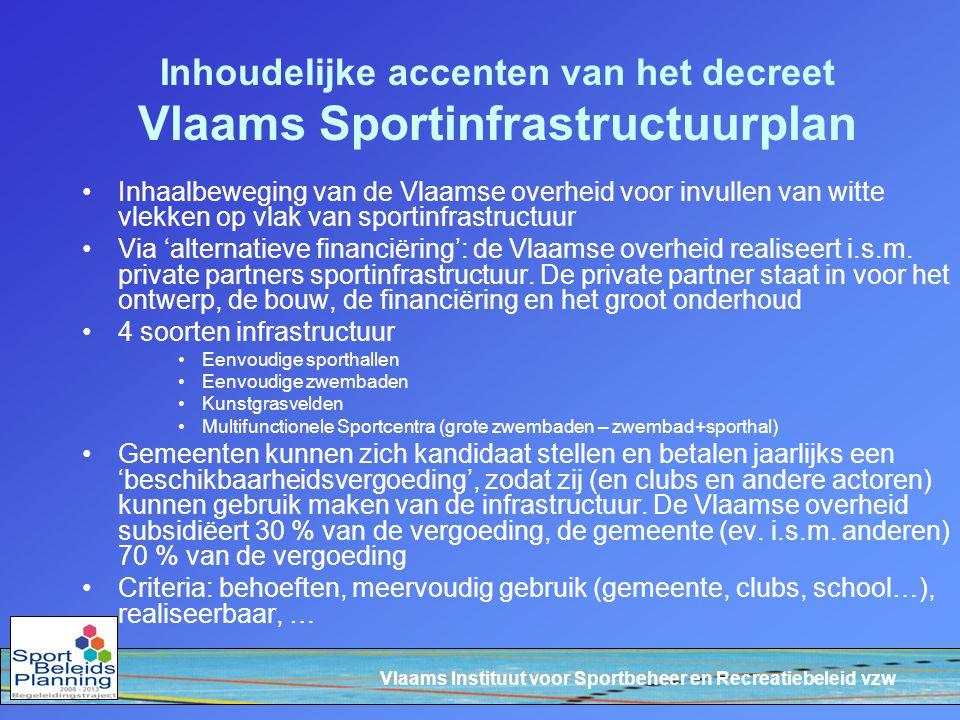 Vlaams Instituut voor Sportbeheer en Recreatiebeleid vzw Inhoudelijke accenten van het decreet Vlaams Sportinfrastructuurplan Inhaalbeweging van de Vl