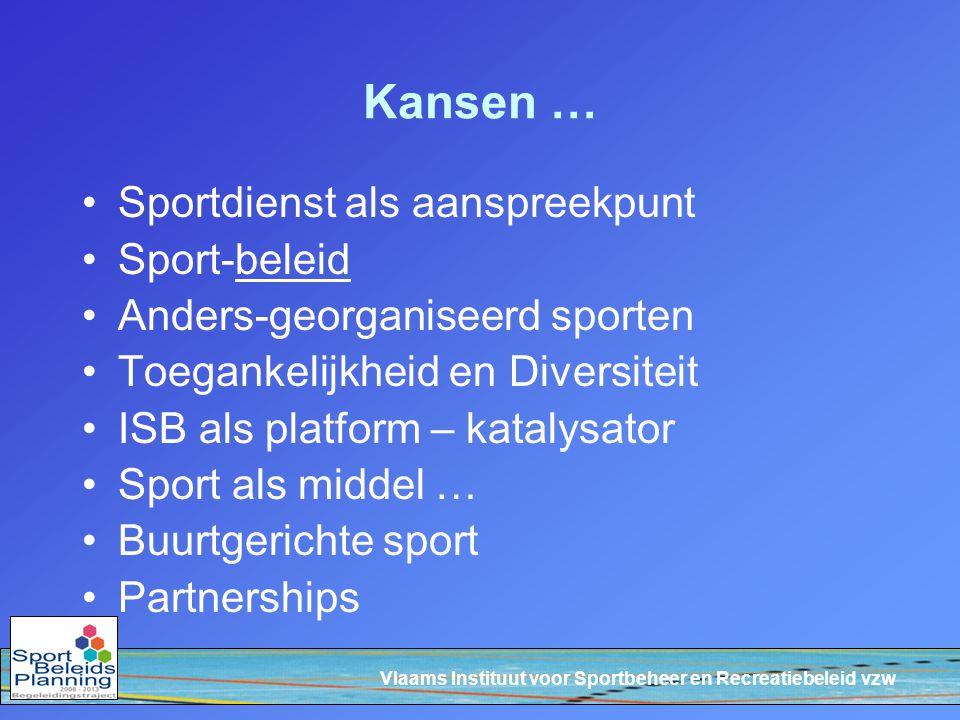Vlaams Instituut voor Sportbeheer en Recreatiebeleid vzw Kansen … Sportdienst als aanspreekpunt Sport-beleid Anders-georganiseerd sporten Toegankelijkheid en Diversiteit ISB als platform – katalysator Sport als middel … Buurtgerichte sport Partnerships