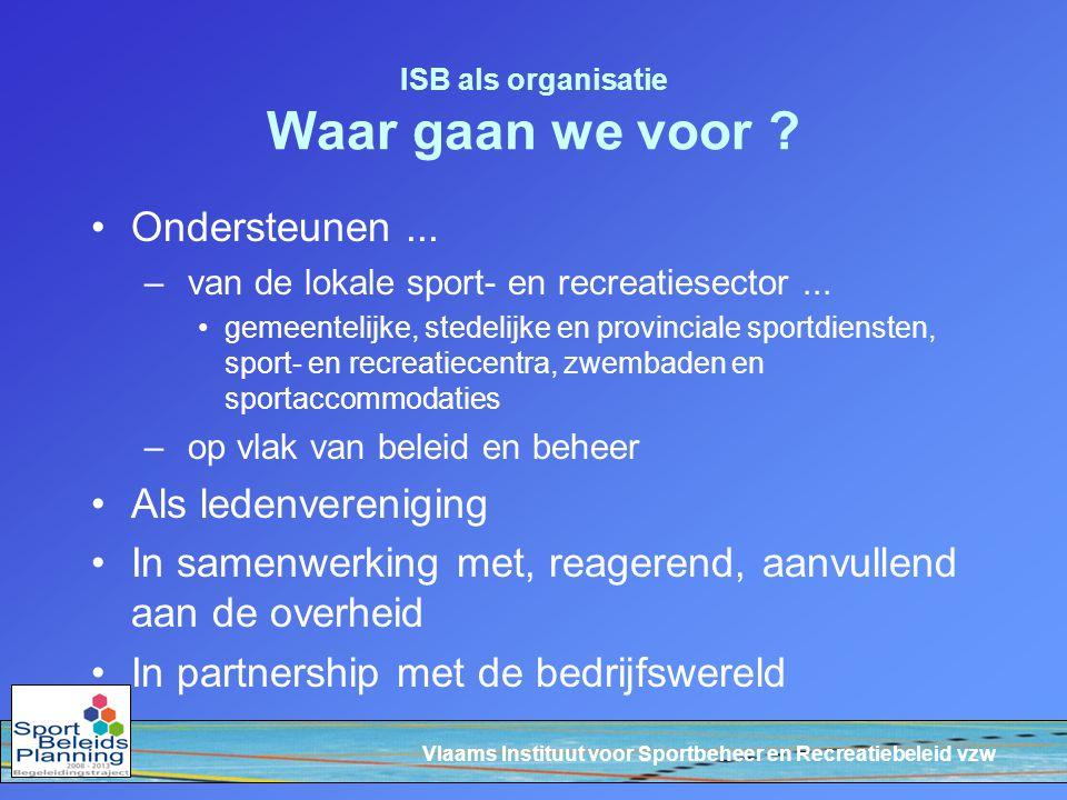 Vlaams Instituut voor Sportbeheer en Recreatiebeleid vzw ISB als organisatie Waar gaan we voor ? Ondersteunen... – van de lokale sport- en recreatiese