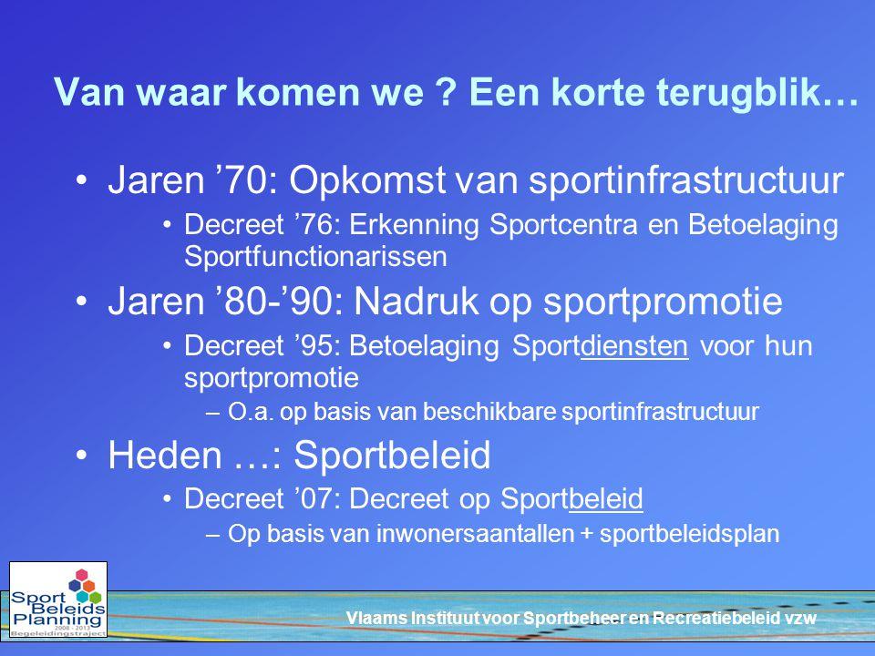 Vlaams Instituut voor Sportbeheer en Recreatiebeleid vzw Inhoudelijke accenten van het decreet Vlaams Sportinfrastructuurplan Inhaalbeweging van de Vlaamse overheid voor invullen van witte vlekken op vlak van sportinfrastructuur Via 'alternatieve financiëring': de Vlaamse overheid realiseert i.s.m.