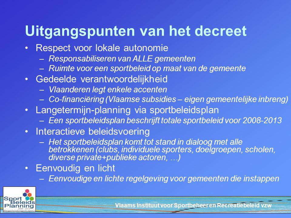 Vlaams Instituut voor Sportbeheer en Recreatiebeleid vzw Uitgangspunten van het decreet Respect voor lokale autonomie –Responsabiliseren van ALLE geme