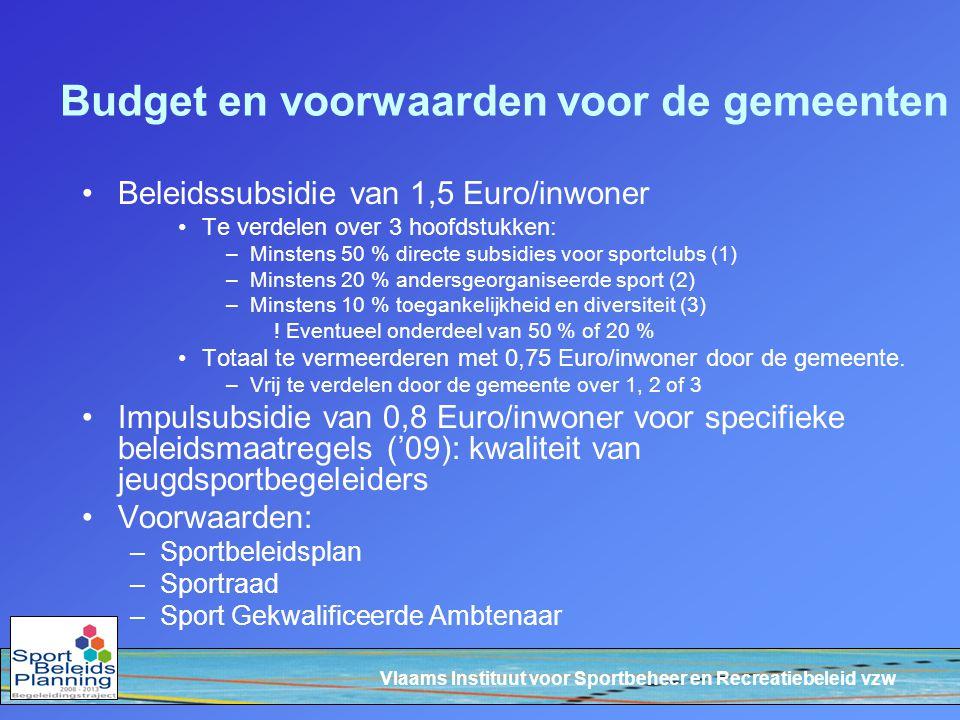 Vlaams Instituut voor Sportbeheer en Recreatiebeleid vzw Budget en voorwaarden voor de gemeenten Beleidssubsidie van 1,5 Euro/inwoner Te verdelen over 3 hoofdstukken: –Minstens 50 % directe subsidies voor sportclubs (1) –Minstens 20 % andersgeorganiseerde sport (2) –Minstens 10 % toegankelijkheid en diversiteit (3) .