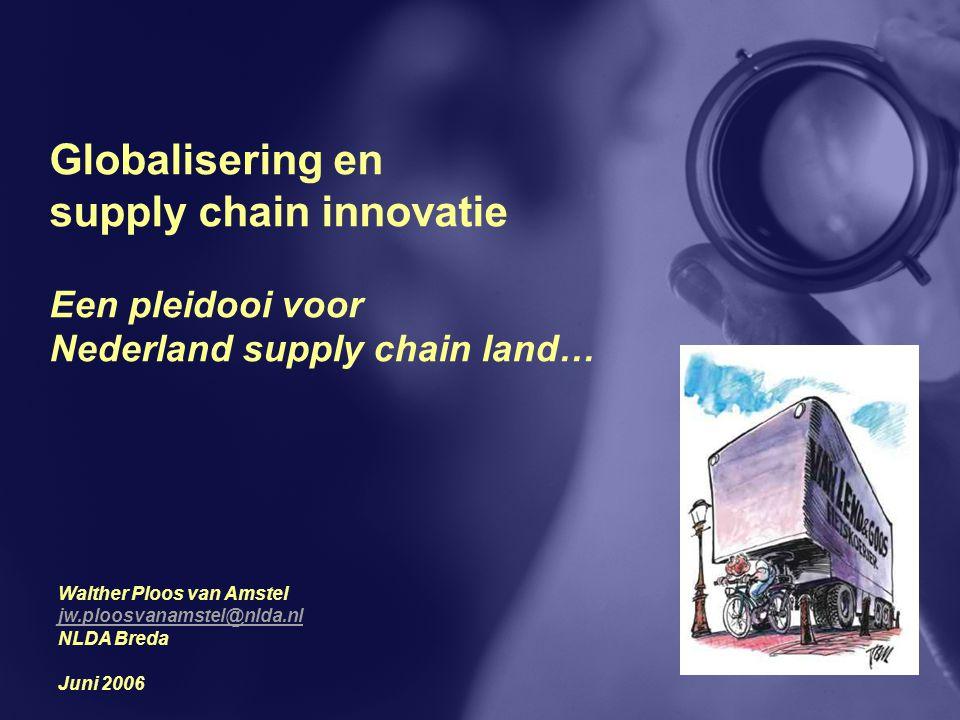Globalisering en supply chain innovatie Een pleidooi voor Nederland supply chain land… Walther Ploos van Amstel jw.ploosvanamstel@nlda.nl NLDA Breda J