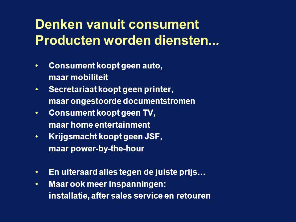 Denken vanuit consument Producten worden diensten...