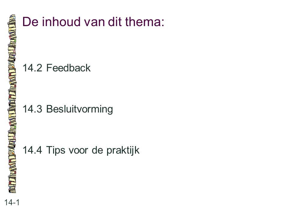 De inhoud van dit thema: 14-1 14.2Feedback 14.3 Besluitvorming 14.4 Tips voor de praktijk