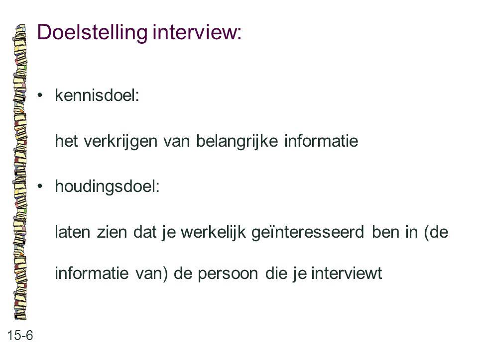 Doelstelling interview: 15-6 kennisdoel: het verkrijgen van belangrijke informatie houdingsdoel: laten zien dat je werkelijk geïnteresseerd ben in (de