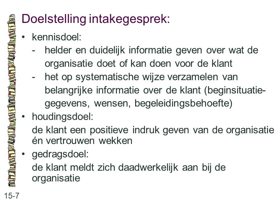 Doelstelling intakegesprek: 15-7 kennisdoel: -helder en duidelijk informatie geven over wat de organisatie doet of kan doen voor de klant -het op syst