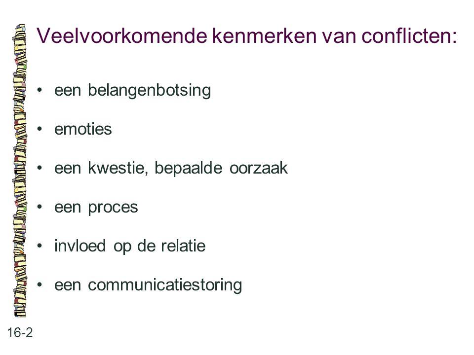 Veelvoorkomende kenmerken van conflicten: 16-2 een belangenbotsing emoties een kwestie, bepaalde oorzaak een proces invloed op de relatie een communic