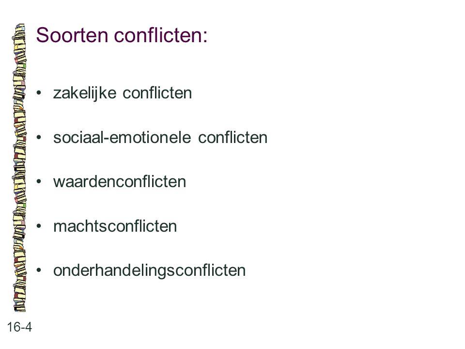 Soorten conflicten: 16-4 zakelijke conflicten sociaal-emotionele conflicten waardenconflicten machtsconflicten onderhandelingsconflicten