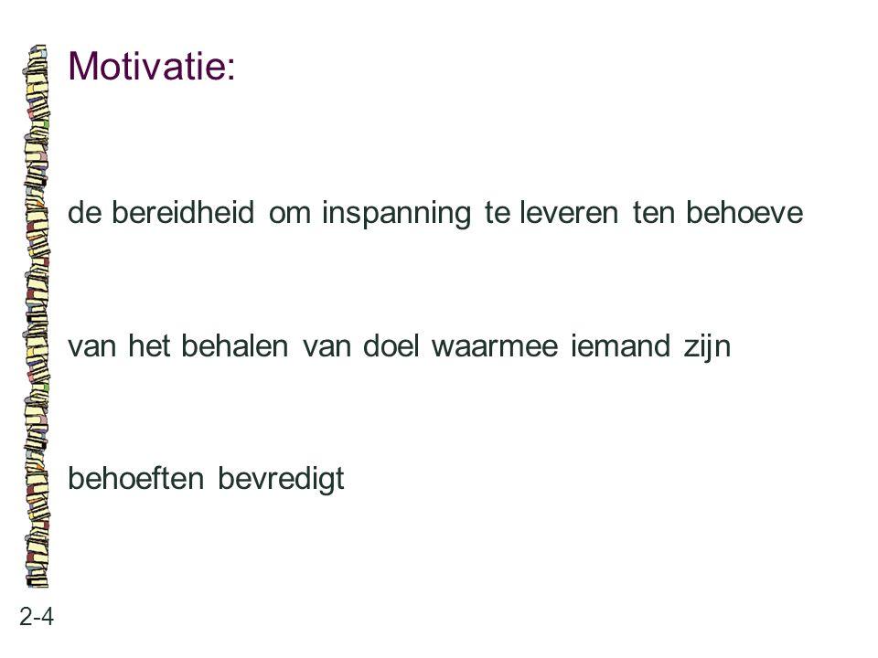 Motivatie: 2-4 de bereidheid om inspanning te leveren ten behoeve van het behalen van doel waarmee iemand zijn behoeften bevredigt