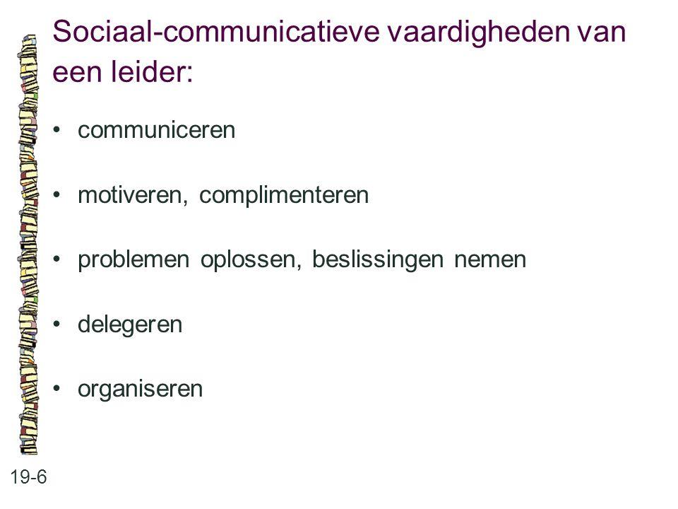 Sociaal-communicatieve vaardigheden van een leider: 19-6 communiceren motiveren, complimenteren problemen oplossen, beslissingen nemen delegeren organ