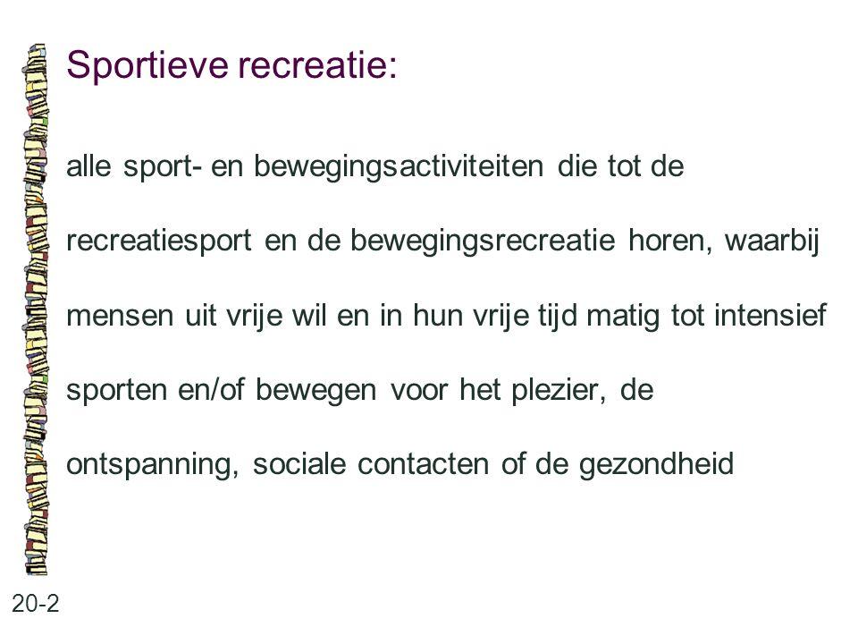Sportieve recreatie: 20-2 alle sport- en bewegingsactiviteiten die tot de recreatiesport en de bewegingsrecreatie horen, waarbij mensen uit vrije wil