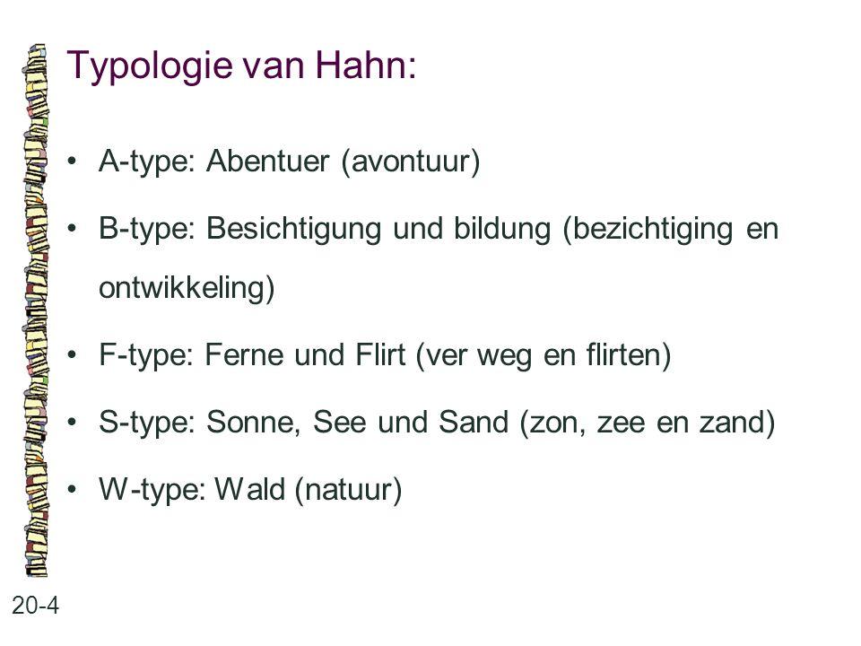 Typologie van Hahn: 20-4 A-type: Abentuer (avontuur) B-type: Besichtigung und bildung (bezichtiging en ontwikkeling) F-type: Ferne und Flirt (ver weg