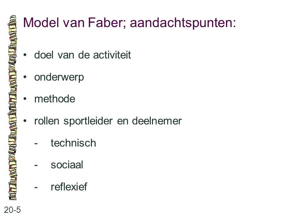 Model van Faber; aandachtspunten: 20-5 doel van de activiteit onderwerp methode rollen sportleider en deelnemer -technisch -sociaal -reflexief