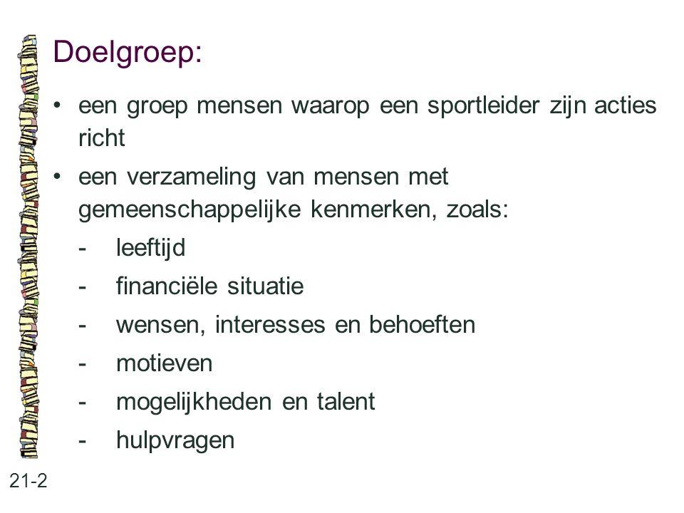 Doelgroep: 21-2 een groep mensen waarop een sportleider zijn acties richt een verzameling van mensen met gemeenschappelijke kenmerken, zoals: -leeftij
